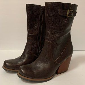 Kork Ease Brown Pebbled Leather Calf Boots